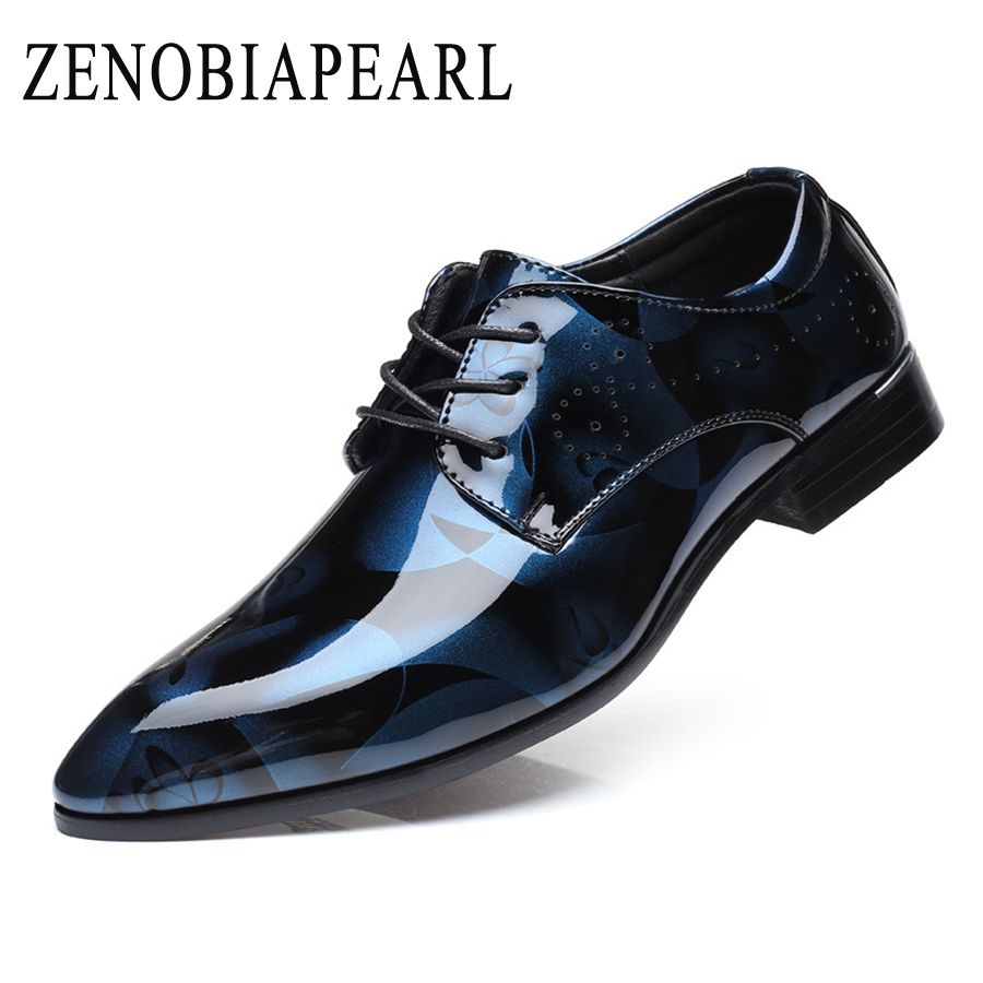 Men Dress Shoes Patent Leather Oxford Shoes Men Formal Shoes Pointed Toe Business Wedding Plus Size 38-50