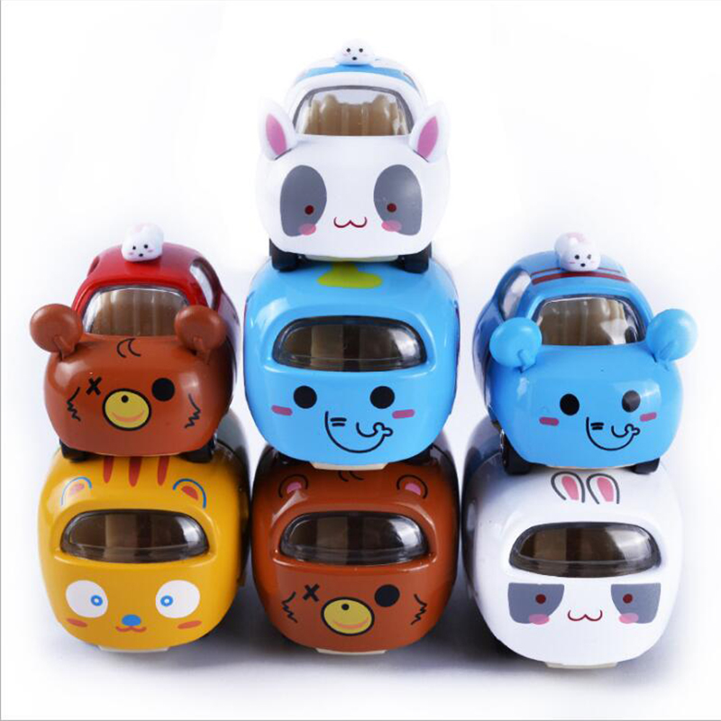 Mini Size Cartoon Stacking Cars Alloy Metal Freewheeling Diecast Cute Animal Toy Cars For Kids