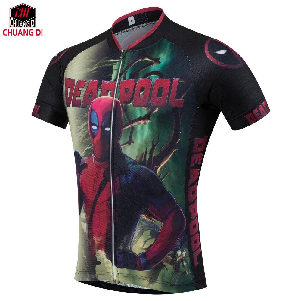 Prix pour 2017 Arrivent Américain Comique Dur À Cuire Deadpool T-Shirt T-shirts Hommes Femmes Personnages de Dessin Animé 3d Vélo maillots Drôle sport maillots