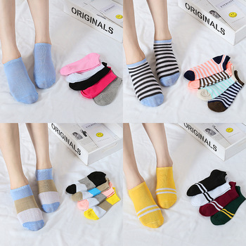 5Pairs/Lot socks ladies candy color solid color women's socks short tube cotton boat socks women spring and summer spring and summer flamingo and fox series woman cotton lovely socks painting lady female boat socks short ankle women socks