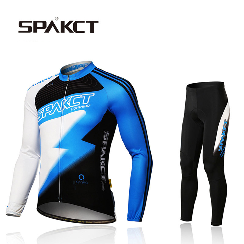 SPAKCT Cycling Bicycle Jersey Set Spring Autumn Professional Riding Sportswear Men Women Long Sleeve Pants Cycling Clothings spakct csy384 bike bicycle cycling riding pants black red size xl