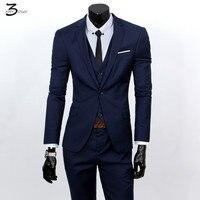 Jackets Vest Pants 2016 Fashion Male Quality Slim High Grade Cotton Business BLAZER Men Groom