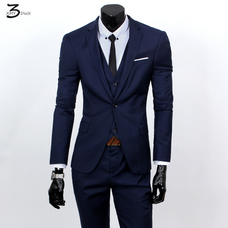 XMY3DWX (vestes + gilet + pantalon) mode homme qualité mince de haute qualité coton affaires BLAZER/Hommes robe de marié costume trois pièces/vestes