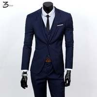Jackets Vest Pants 2016 Fashion Male Quality Slim High Grade Cotton Business BLAZER Men Groom