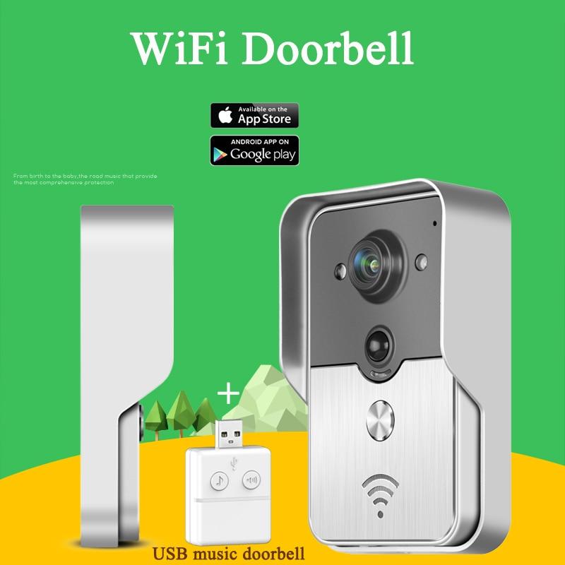 KONX KW01 WiFi Sans Fil Vidéo Interphone interphone Sonnette judas Caméra PIR Vision Nocturne D'alarme USB Musique Sonnette