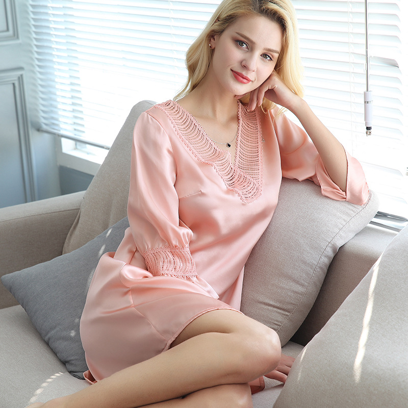 S55129 New Fashion spring and summer Silk   nightgown   sexy V-neck 100% Silk Sleeping wear Home Clothes   Nightgowns   &   Sleepshirts