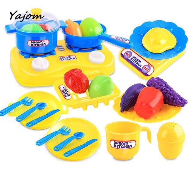 2018 26 Pcs Plastik Anak Dapur Peralatan Memasak Makanan Berpura Pura Bermain Set Mainan
