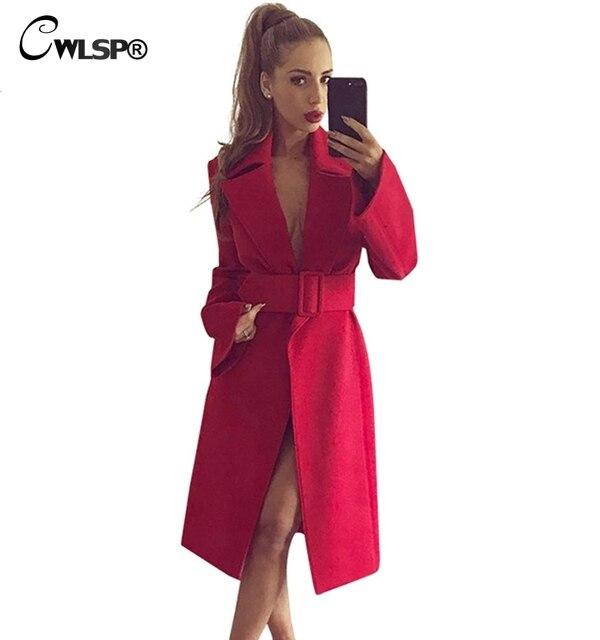 f536beb24 CWLSP Mulheres Wool & Blends 2018 Moda Longo Casaco de Inverno Vermelho com  Cinto Senhoras Elegantes