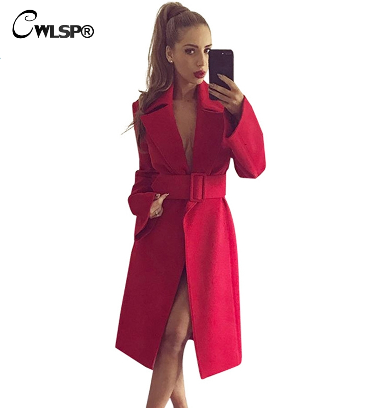 CWLSP Winter Red Women Wool& Blends 2018 Fashion Long Coat with Belt Ladies Elegant abrigos mujer manteau femme hiver QZ2501 fashion red longline coat with belt