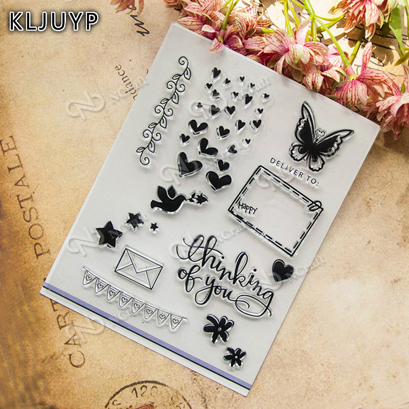 KLJUYP 1 sheet DIY Butterfly Design Transparent Clear Rubber Stamp for kids Seal Paper Craft Scrapbooking Decoration
