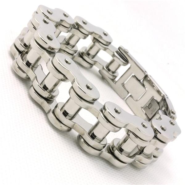 1.7 MM 110  Anniversary New Arrivals Mens Heavy Silver Biker  Polish Motorcycle Chain Bracelet Bangle Gift  Hot Saling