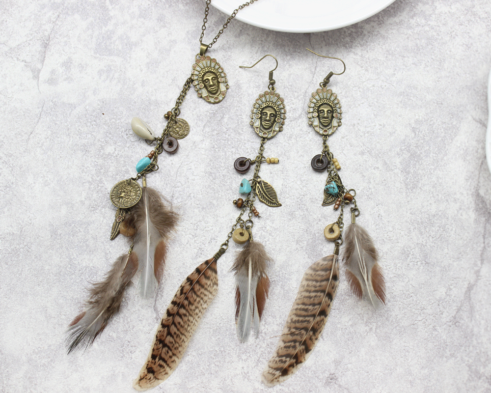 HTB10sPDmBDH8KJjSspnq6zNAVXax - Women Long Necklace Indian Coin Stone Feather Fringed Necklaces Decorative Sweater Chain Collar Pendant Choker Bijoux (XL012)