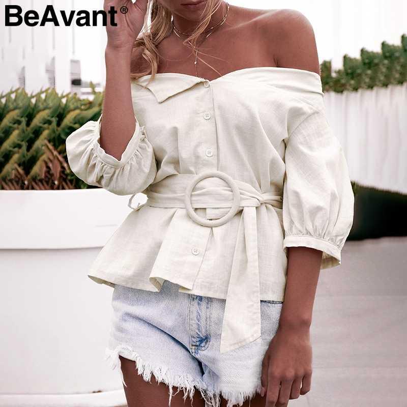BeAvant с открытыми плечами, сексуальная женская блузка, рубашка, винтажное с рукавами-фонариками, хлопковая блузка, Женская Повседневная блуза на пуговицах, женская блузка