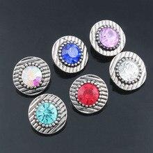 10Pcs/lot Xinnver Snap Button Jewelry 6 Color Metal Crystal Snap Mini Buttons Fit 12mm Snap Bracelets Bangles ZL013