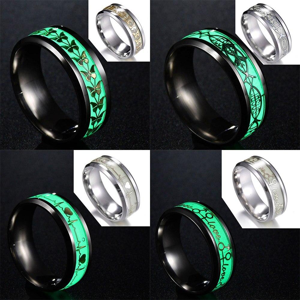 68.34руб. 45% СКИДКА|Классические светящиеся кольца MMS, кольцо с бабочкой/черепом/музыкальной нотой/ECG узором, зеленый фон, флуоресцентные светящиеся кольца|Кольца| |  - AliExpress