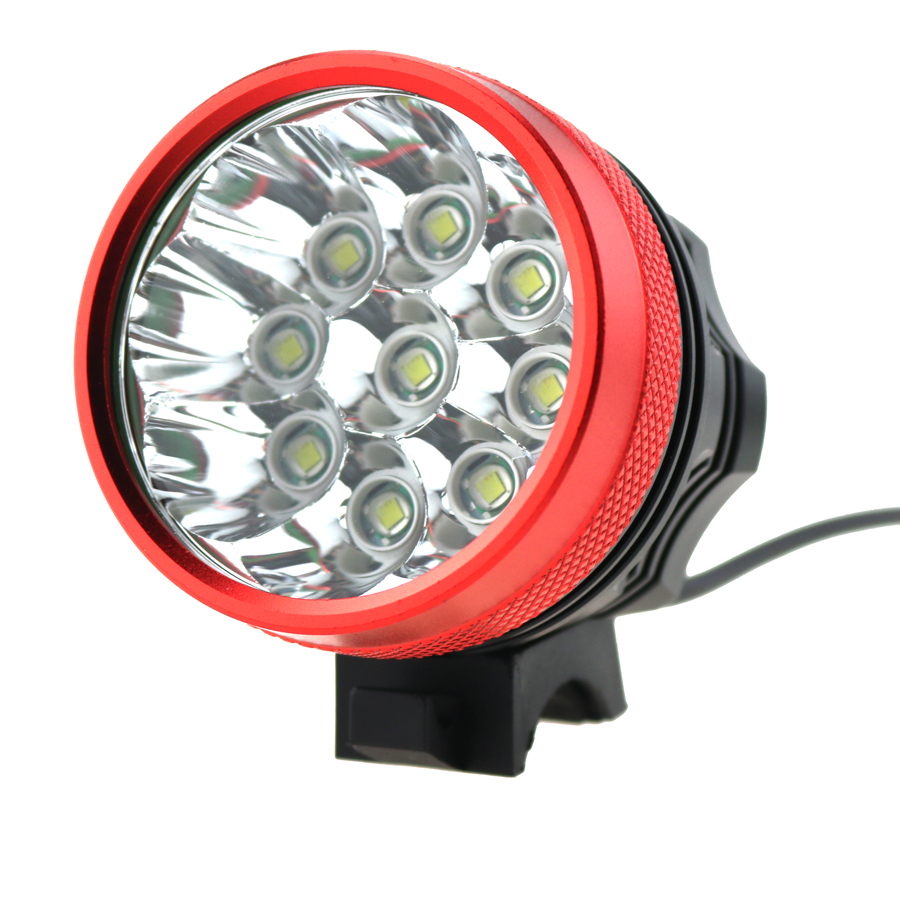 High Quality 9xCREE XM-L T6 9T6 15000 Lumens 3 Modes LED Bike Lights Luz Da Bicicleta Black Red Colors
