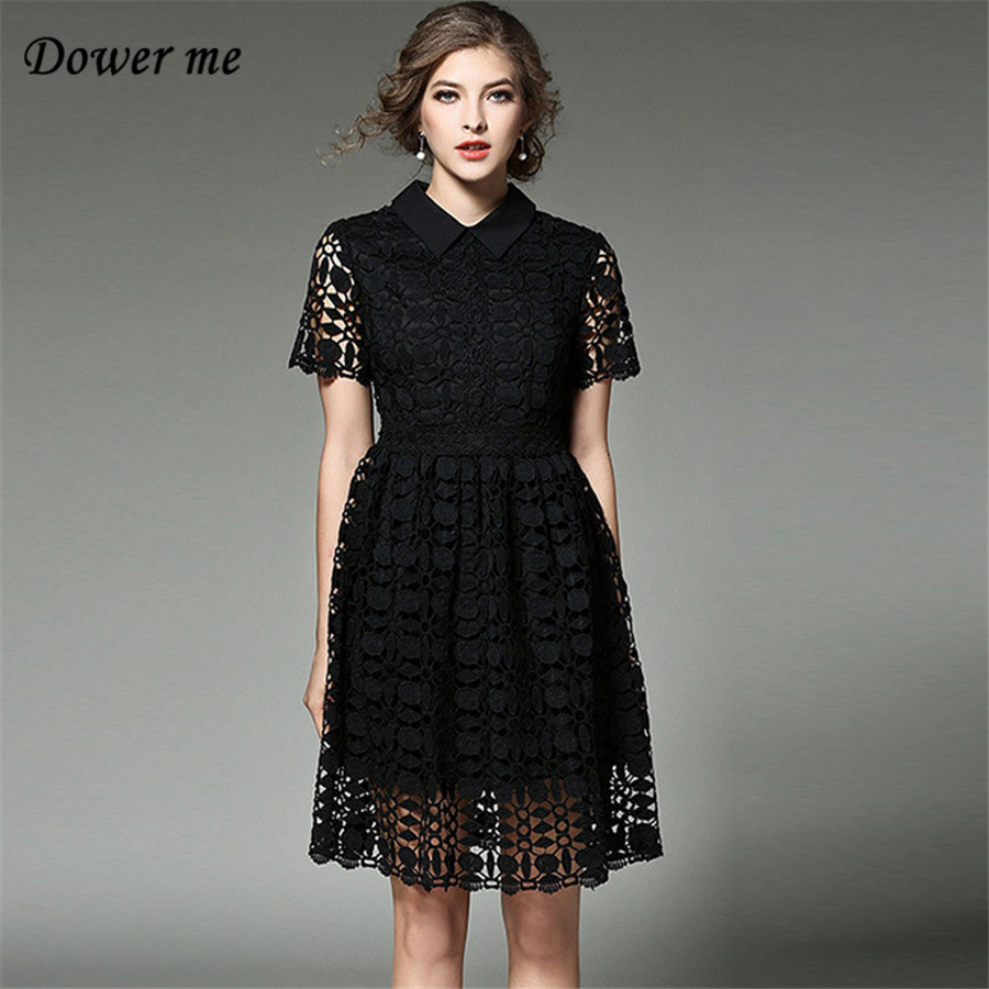New Supermaket Fashion Elegant Solid Color Embroidery Women Office Dress Female Sexy Hollow Out Lace A-line Turn-down Collar Dresses  YN801