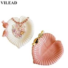 VILEAD 7.3 Ceramic Leaves Jewelry Plate Figurines Creative Birds Tray Holder Miniatures Modern Home Decor Girl Gift
