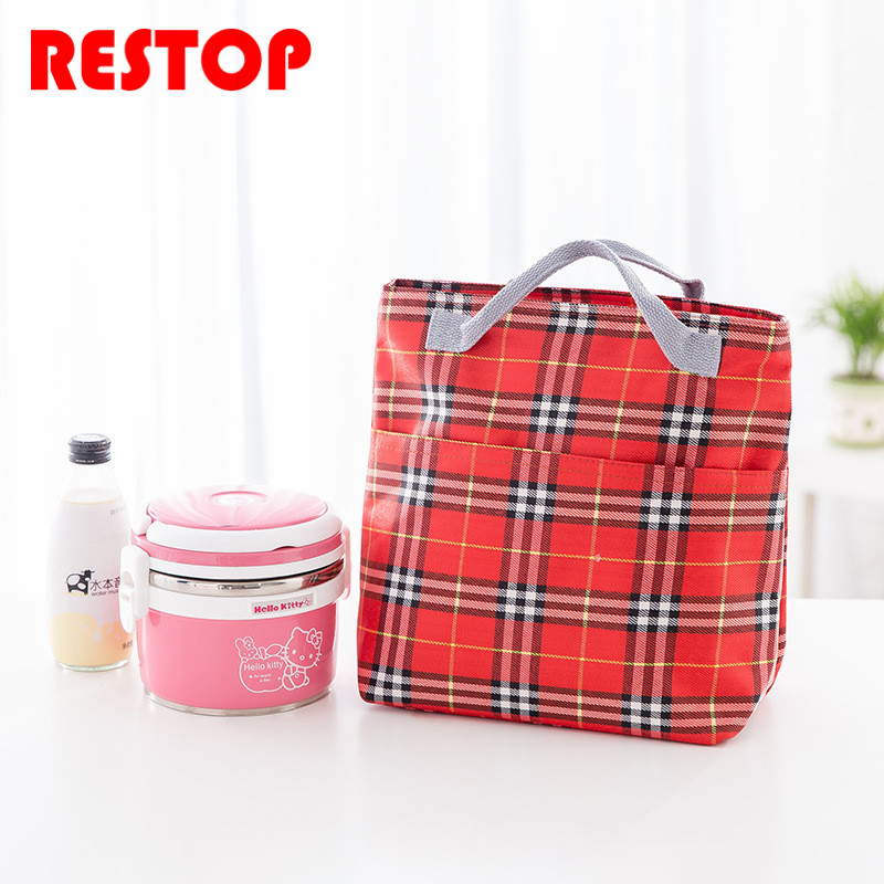 Lattice Waterproof Oxford Lunch Bag Thermal Food Picnic Lunch Bags for Women kids Men Cooler Lunch Box Bag Tote RES921