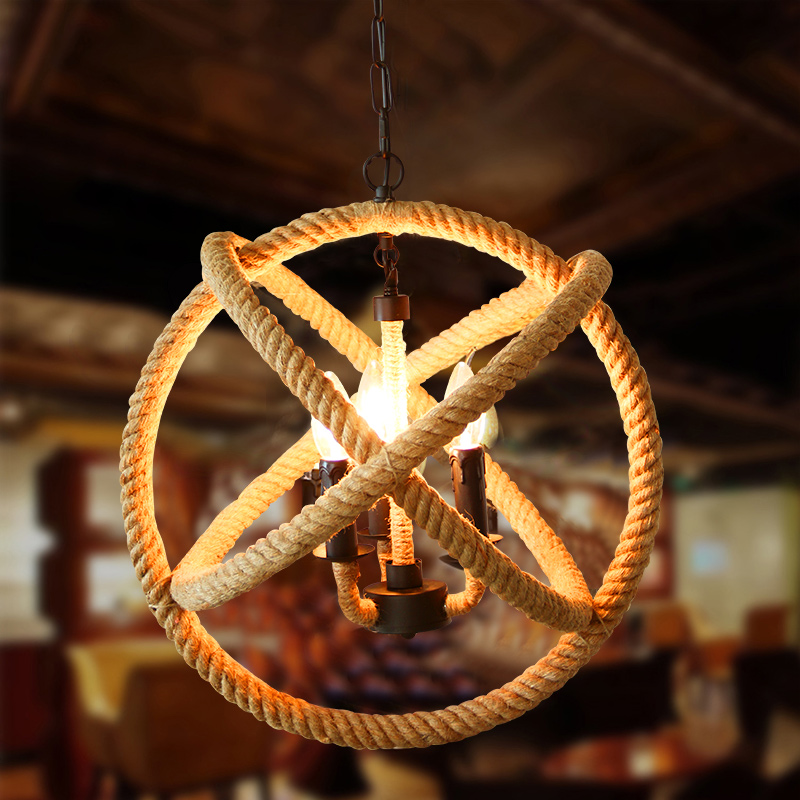 Nordic Retro Iron Round Pendant Light Loft Vintage Lamp Pendant Hand Knitted Hemp Rope Light for Restaurant Bedroom Dining room loft style vintage pendant lamp iron industrial retro pendant lamps restaurant bar counter hanging chandeliers cafe room