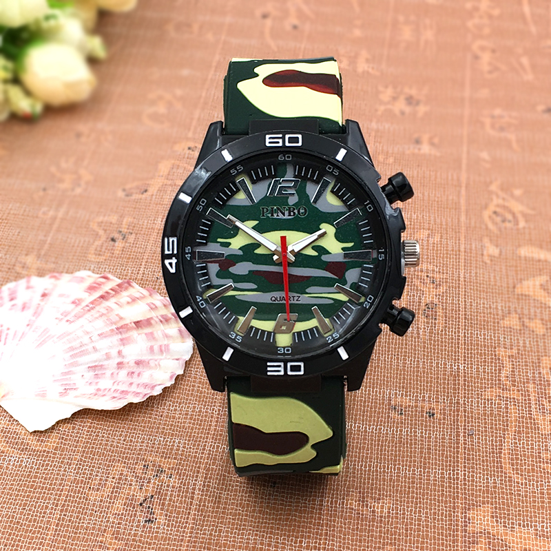 2016 New PINBO Brand Men Army Sports Casual Quartz Watch Men Camouflage Outdoor Leather Strap Military Watches Relogio Masculino 2016 new pinbo brand men sports quartz watch men silicone strap military wrist watches relogio masculino clock hot sale