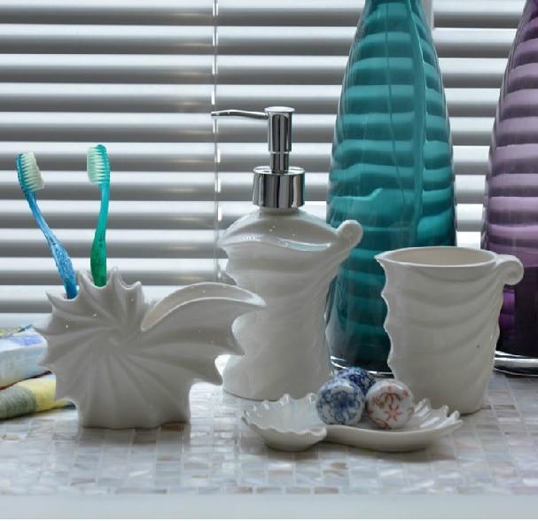 Four Pieces Bathroom Set Sea Shell Bathroom Supplies White Ceramic Home Decor Free Shipping-in