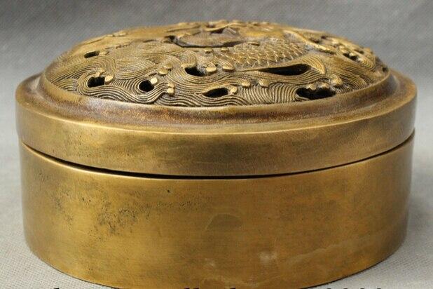 JP S0608 Old Tibet Pure Bronze Buddhism Dragon Fish Head Statue Box Incense Burner Censer Discount 35% censer     - title=