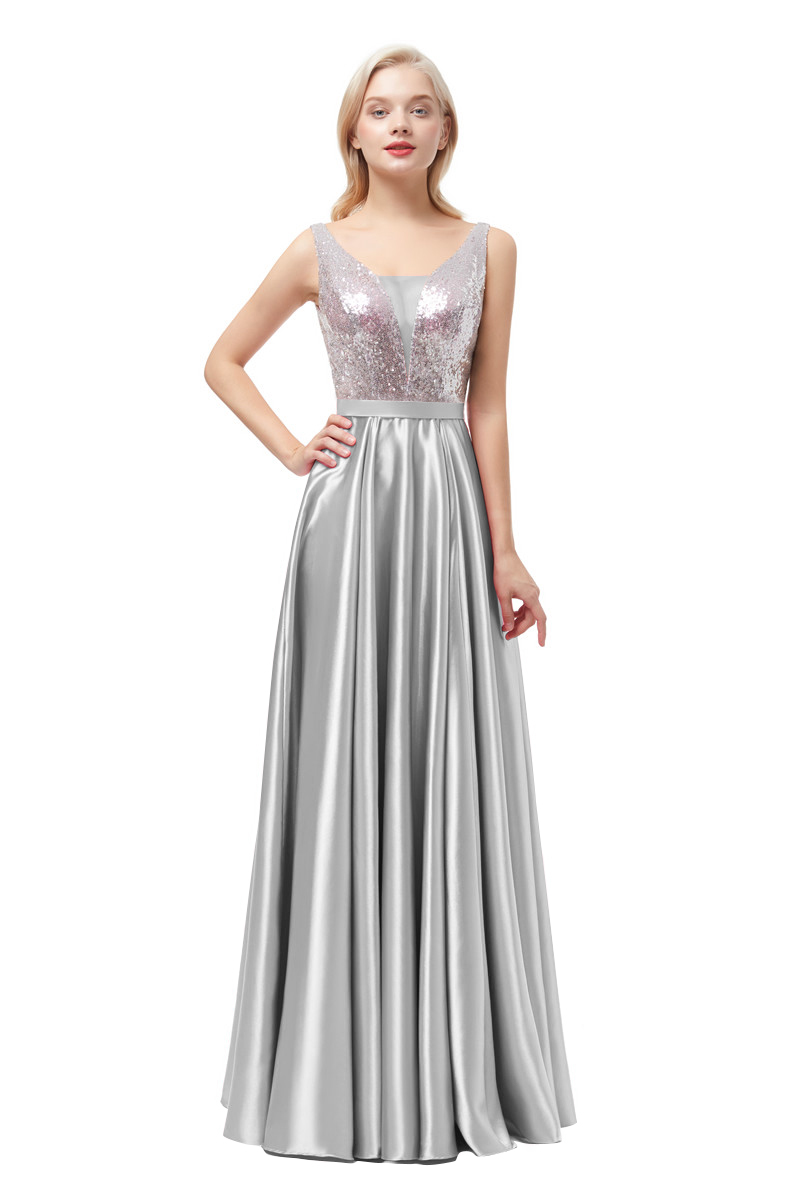 Sequined A Line silver   Evening     Dresses   2019 Long V Neck Formal   Evening   Gowns Party Prom Formal Party   Dresses   reflective   dresses