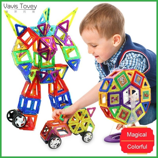 Vavis Tovey Big Magnetic Designer 19-125PCS 3D Constructor Magnents Toy Kids Baby Educational Creative Toys Boys Girls Gift