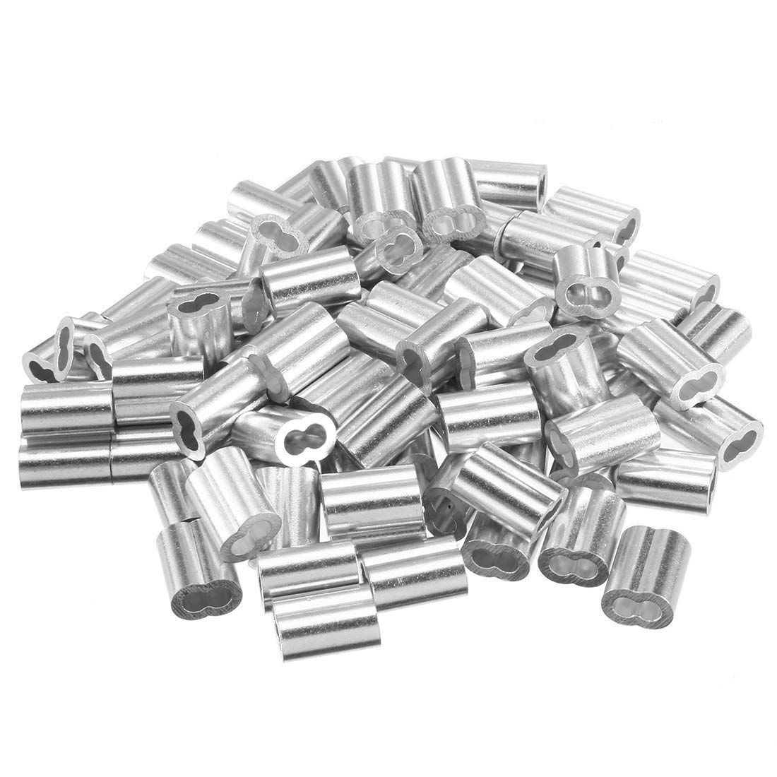 100pcs 5/64 Inch (2mm) Diameter Wire Rope Aluminum Alloy Sleeves Clip Fittings Loop Cable Crimps Ferrule Stop Wire Rope Cable