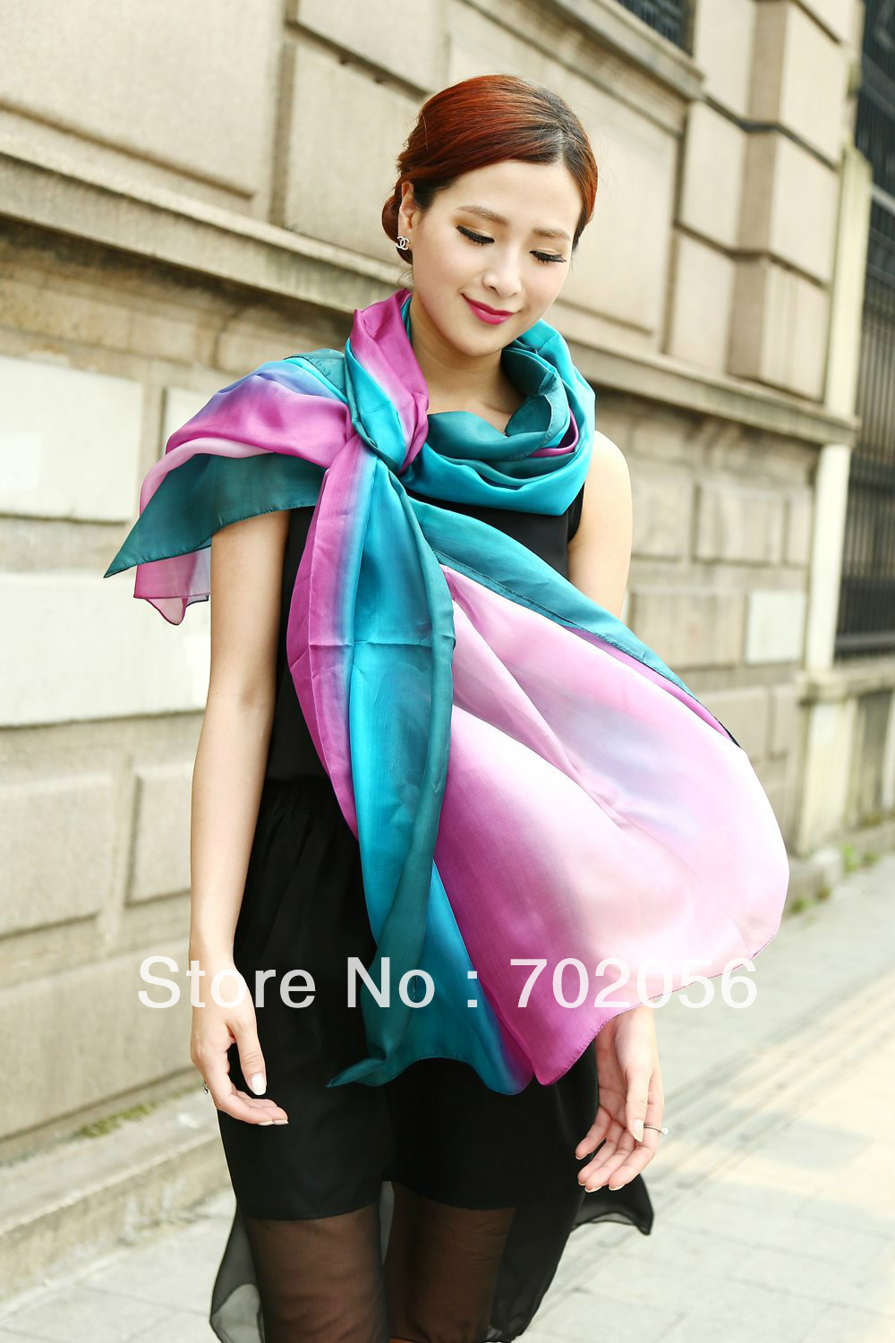 All matched women's shaded 100% silk Satin Sarongs Hijabs Bandanas   Scarf     wrap   shawl poncho 180*110cm mixed color 9pcs/lot #3350