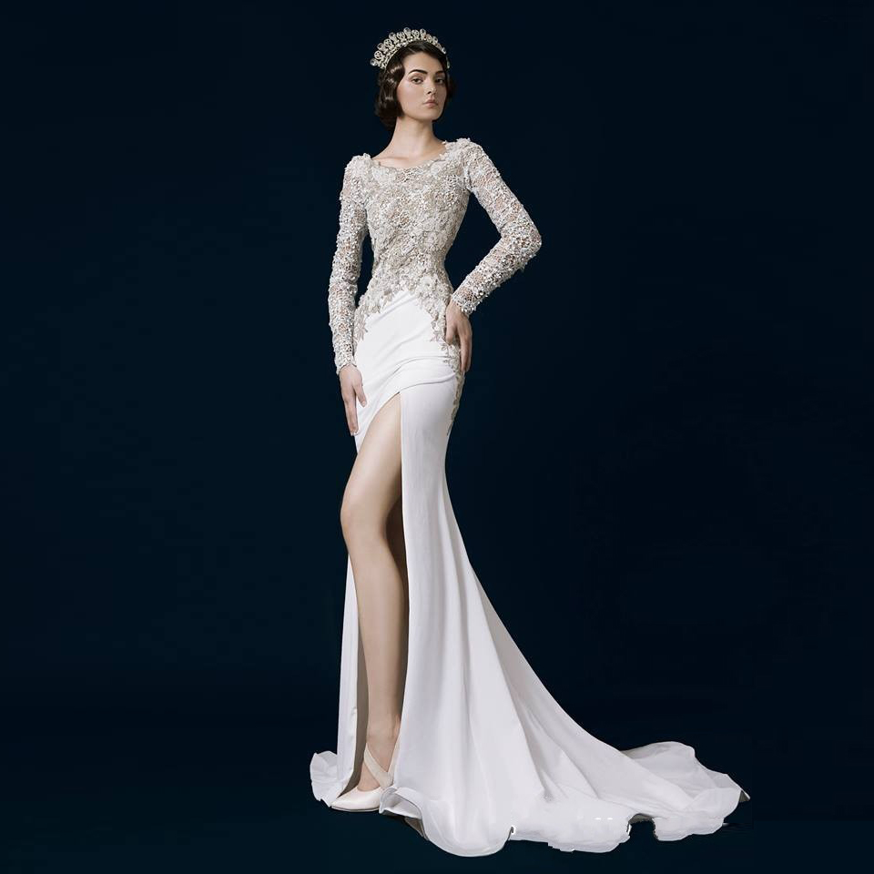 Online Shop Noble White Mermaid Evening Dress Side Slit Lace ...