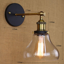Loft Industrial Wall Lamps Vintage Bedside Light Clear Glass Lampshade E27 Edison Bulbs 110V/220V