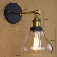 цена на Loft Industrial Wall Lamps Vintage Bedside Wall Light Clear Glass Lampshade E27 Edison Bulbs 110V/220V