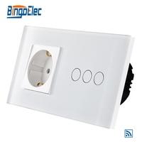 EU Standard 3gang 1way Remote Wall Switch And Germany Wall Socket