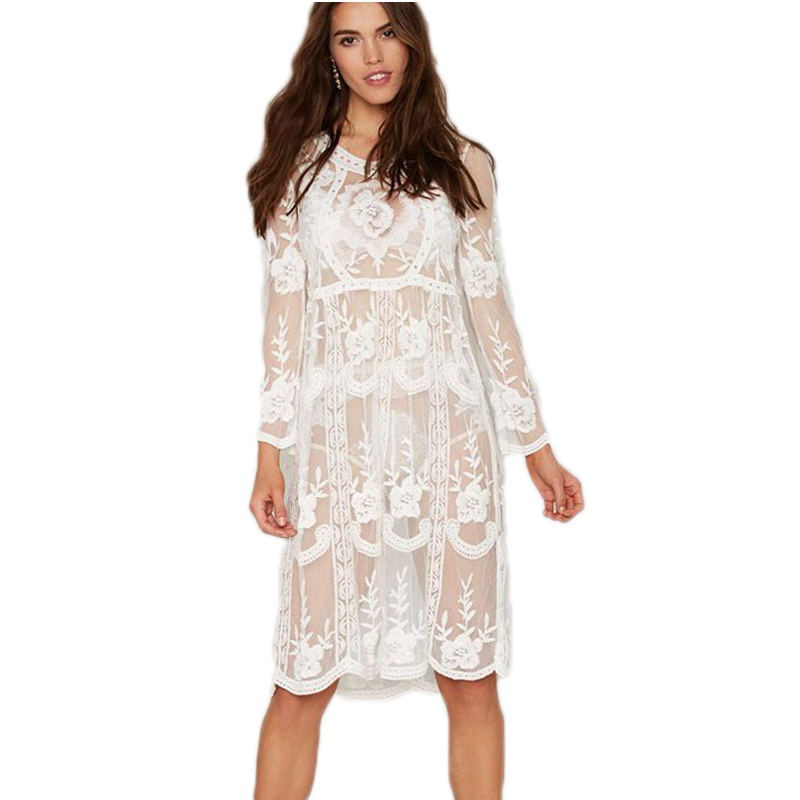 Popular Long Sleeve White Lace Dress-Buy Cheap Long Sleeve White ...