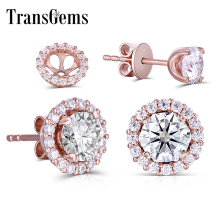 Transgems 14K 585 Rose Gold Center 5mm F color Clear Moissanite Stud Earring for Women Push Back with Accents