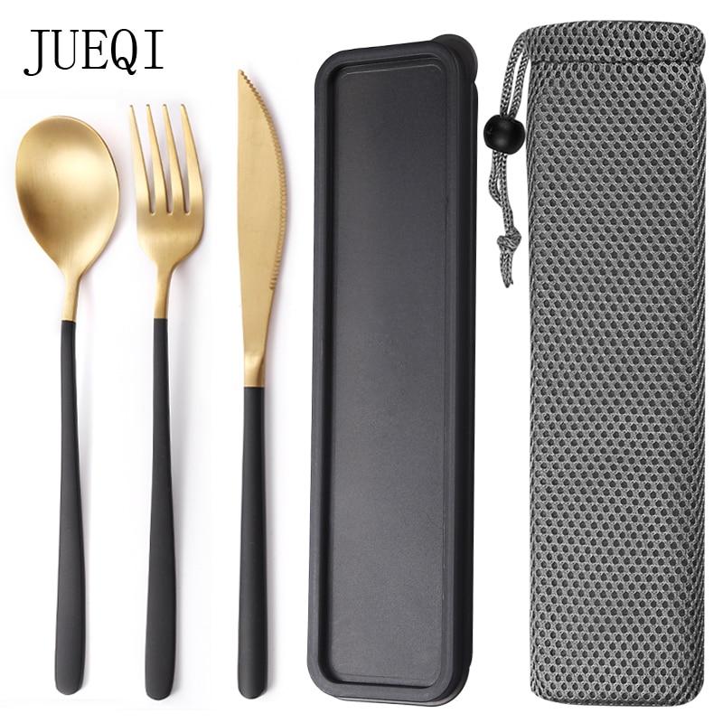 JueQi Camping juego de vajilla cubiertos de acero inoxidable 304 utensilios de cocina vajilla incluyen cuchillo tenedor cucharaditas