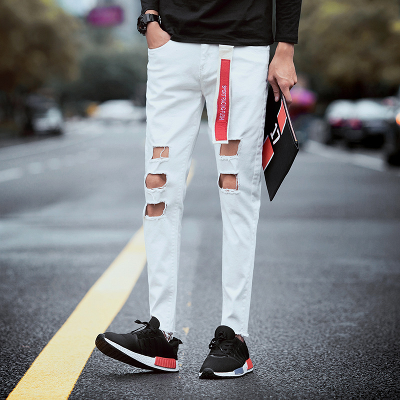 Fashion 2017 Summer washing black big hole feet slightly relaxed  leisure restoring Vintage Denim overalls jeans male beggar