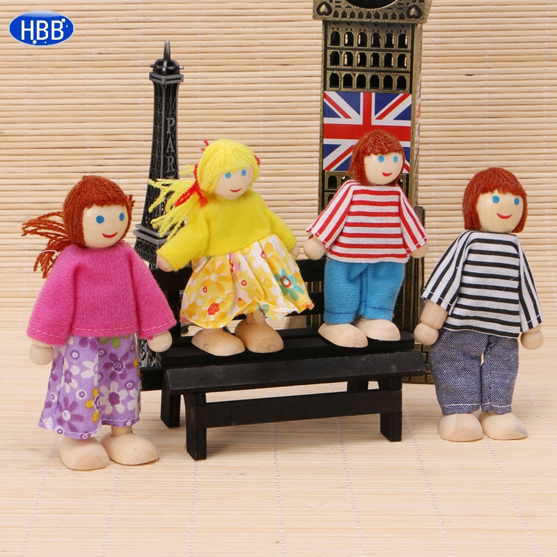 Children Baby Wooden Puppet Doll font b Toys b font Lovely Family Playing Educational font b