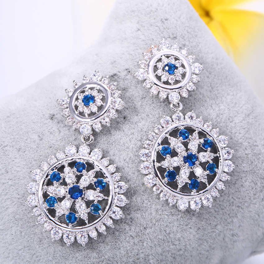 733b8440b ZHE FAN Blue Green Luxury Stars Flower Drop Earrings For Women AAA Cubic  Zirconia Fashion Earring