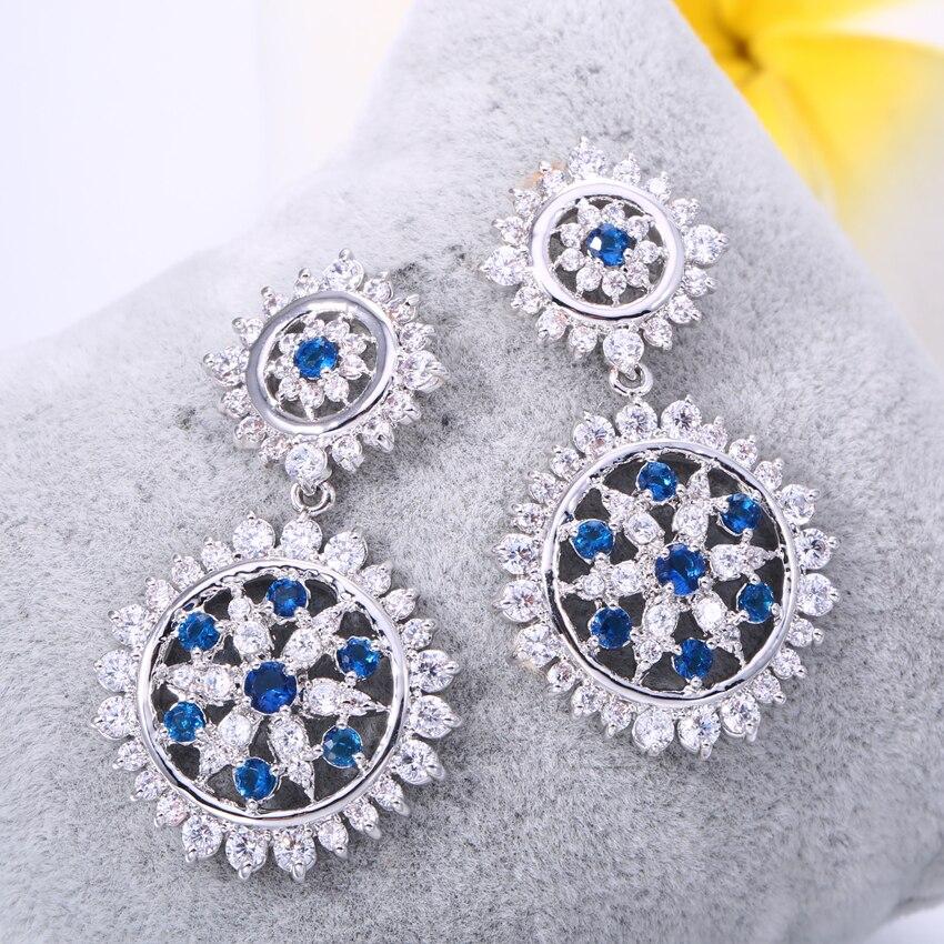 7a437a1e12f3 ZHE FAN azul verde estrellas de lujo flor pendientes para las mujeres AAA  Cubic Zirconia pendiente de la manera joyería regalo de boda