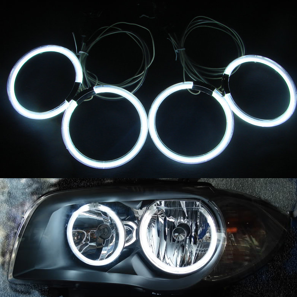 4Pcs/set 105mm White Blue Yellow Green Red Car CCFL Halo Rings Angel Eye Light Headlight Kits for BMW E46 2D E87 Auto Light