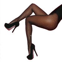 Sexy Women Fishnet Stockings Shiny Crystal Rhinestone Mesh Stocking Tights Pantyhose Black Brown Red Blue