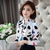 New arrival fashion  Chiffon Shirt Long Sleeve  polka dot women blouses casual bow lady shirt large size DD2357 3