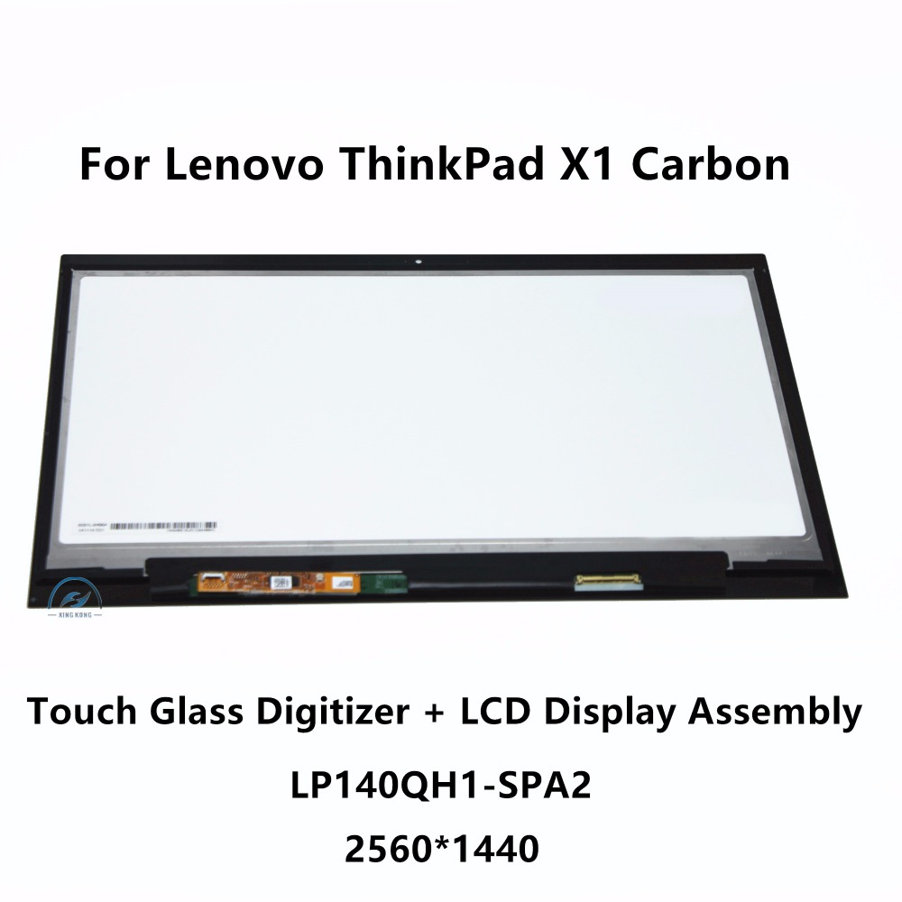 Touch Glass Digitizer + LCD Display Assembly LP140QH1 SPA2 with Touch For Lenovo Thinkpad X1 Carbon Gen 2 20A7 CT01WW 2560X1440