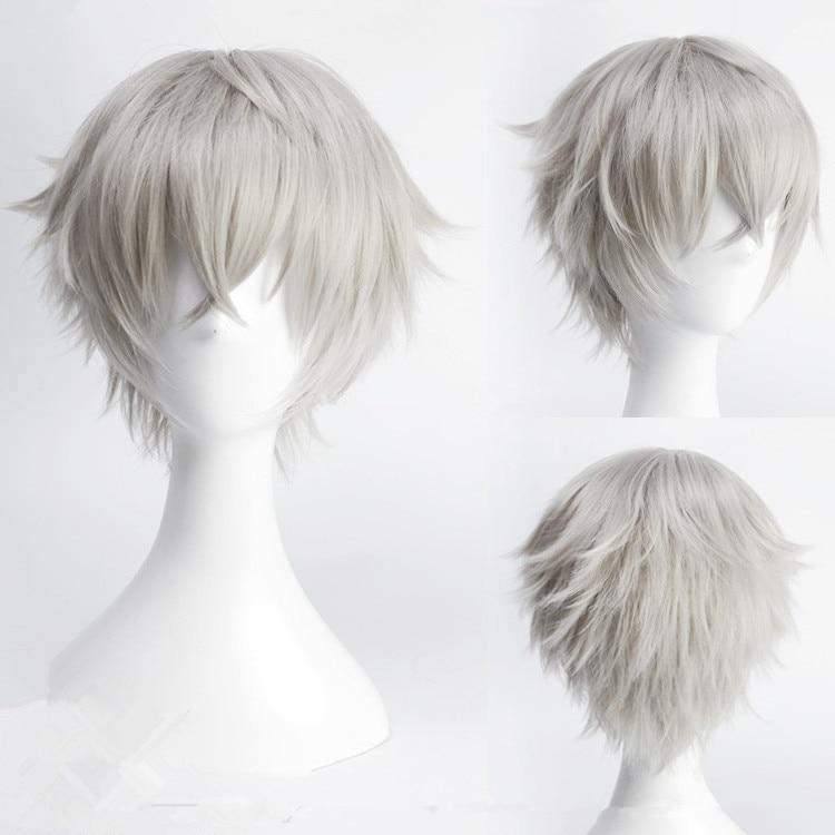 Conjunto de estrelas oogami koga 30cm curto reta perucas cosplay para o homem meninos anime traje festa resistente ao calor peruca sintética cinza