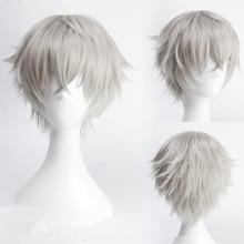 Ansamblis Stars Oogami Koga 30 cm Trumpi tiesūs Cosplay Perukai vyrams Vyrai Anime Kostiumų šalis Heat Resistant Synthetic Wig Gray