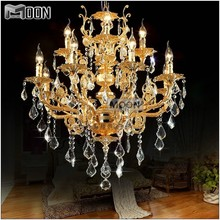 Modern Luxury 12 Arms Crystal Chandelier Lamp Gold Suspension Lustre Light for Foyer Lobby MD8857 L8+4 D750mm H750mm