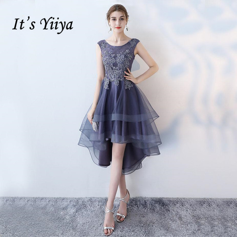 It's YiiYa Sex Lace Floral Illusion High-low Flowers Zipper Tea Length Formal Dresses Party Full Dress Vintage Porm Gown LX096